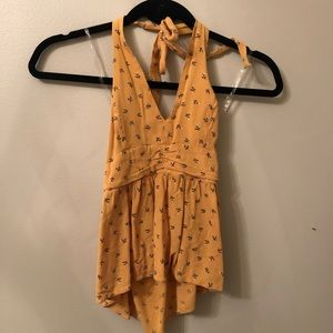 Yellow floral halter tank from American Eagle